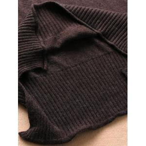 High Neck High Low Knitwear - COFFEE ONE SIZE