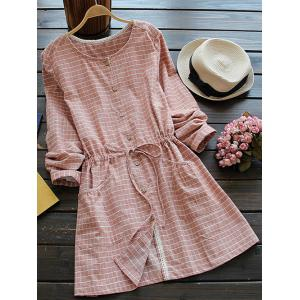 Casual Long Sleeve Drawstring Checked Shirt Dress - Spice - One Size