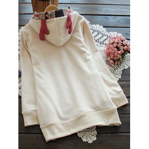 Elk Horn Jacquard Fleeced Hoodie - OFF WHITE ONE SIZE