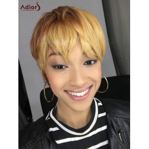 Short Neat Bang Straight Mixed Color Synthetic Wig