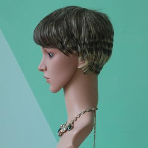 Short Pixie Cut Neat Bang Straight Mixed Color Synthetic Wig -