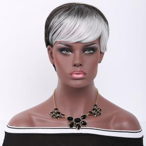 Short Pixie Cut Side Bang Straight Double Color Synthetic Wig - Grey And White