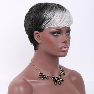 Short Pixie Cut Side Bang Straight Double Color Synthetic Wig - GREY/WHITE