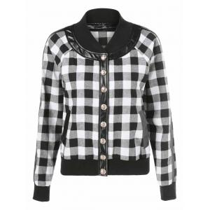 Button Up Plaid Bomber Jacket -