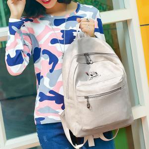 Zippers Embroided PU Leather Backpack - GRAY