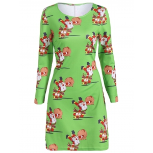 Christmas Plus Size Santa and Reindeer Print Dress - GREEN 5XL