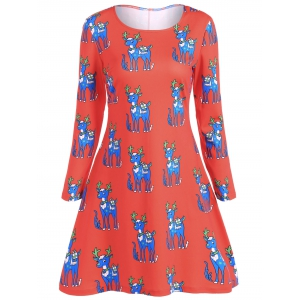 Christmas Plus Size Ornate Reindeer Print Dress - RED 5XL