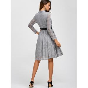 Lace Belted Long Sleeve Pleated Dress - GRAY 3XL