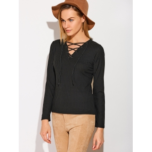 Patched Sleeve Ribbed Lace-Up Top -