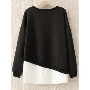 Round Neck Embroidered Panel Sweatshirt -