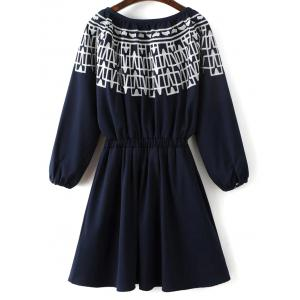 Long Sleeve Elastic Waist Embroidered Dress -