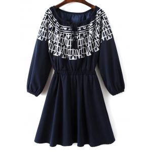 Long Sleeve Elastic Waist Embroidered Dress