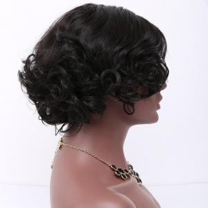Short Side Parting Curly Synthetic Wig - BLACK