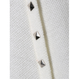 Loos Fit One Pocket Rivets Embellished Knitwear - WHITE 2XL