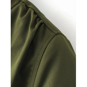 Zipped Bomber Jacket - ARMY GREEN L