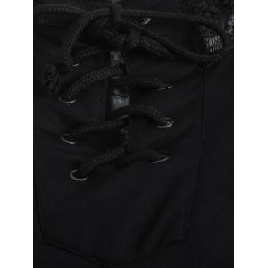 Lace Spliced Lace Up Hoodie - BLACK XL