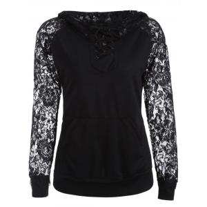 Lace Spliced Lace Up Hoodie