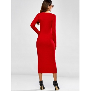 Stretchy Long Sleeve Packet Buttock Knitting Dress -