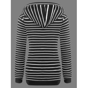 Buttoned Striped Drawstring Hoodie -