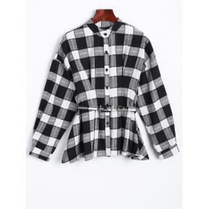 Buttoned Plaid Print Belted Shirt