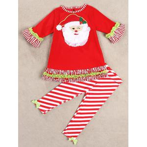 Christmas Santa Long Sleeve Tops Striped Pants Outfits