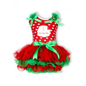 Christmas Polka Dot Santa Clause Embroidered Dress - Red - 110