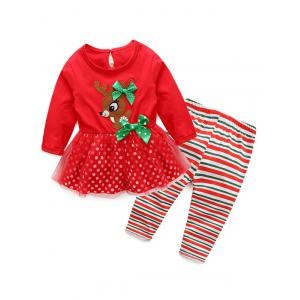 Kids Christmas Elk Dress With Striped Pants Outfits - Red - 70