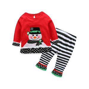 Kids Christmas Snowman T-Shirt With Striped Pants Outfits - Red - 70