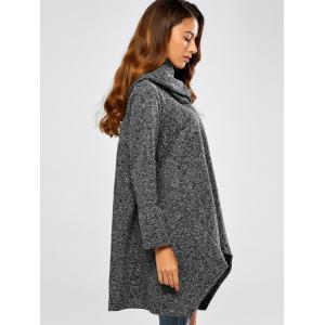 Hooded Asymmetric Loose Sweater - BLACK ONE SIZE