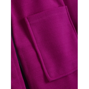 Plus Size Hooded Candy Color Long Open Front Coat - FUCHSIA ROSE 5XL