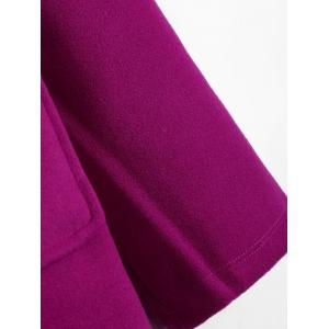 Plus Size Hooded Candy Color Long Open Front Coat - FUCHSIA ROSE 3XL