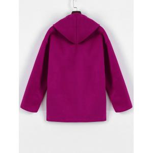 Plus Size Hooded Candy Color Long Open Front Coat - FUCHSIA ROSE L