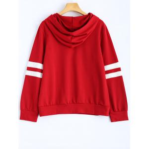Hooded Striped Sweatshirt - WINE RED M