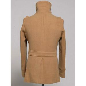 Double Breasted Epaulet Design Wool Blend Coat -