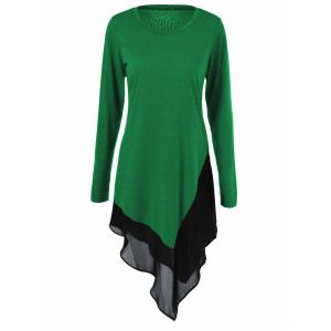 Chiffon Trim Asymmetrical Long Blouse - Green - S