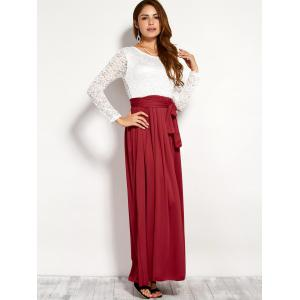 Lace Panel Maxi Evening Long Sleeve Dress - RED XL
