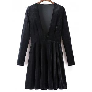 Long Sleeve Deep Plunge A-Line Velvet Dress