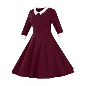 Fit and Flare Color Block Vintage Dress - WINE RED 3XL