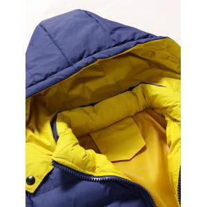 Zip Pocket Hooded Padded Jacket - DEEP BLUE L