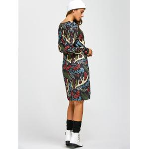 Christmas Leaf Antler Print A-Line Dress - COLORMIX ONE SIZE