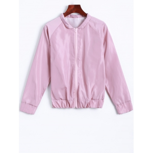 Stand Neck Back Letter Windbreaker Jacket - PINK M