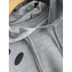 Polka Dot Cut Out Cropped Short Hoodie - LIGHT GREY M