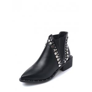 Metal Chunky Heel Pointed Toe Ankle Boots - BLACK 39