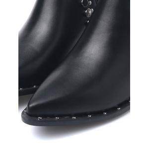 Metal Chunky Heel Pointed Toe Ankle Boots - BLACK 37