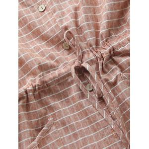 Casual Long Sleeve Drawstring Checked Shirt Dress - BLUE GRAY ONE SIZE