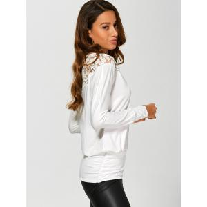 Long Sleeve Lace Insert T-Shirt - WHITE XL