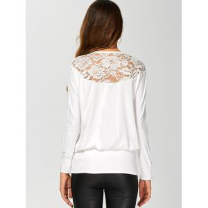 Long Sleeve Lace Insert T-Shirt - WHITE S