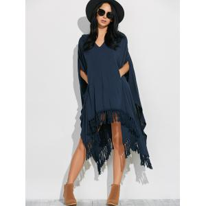 Side Slit Hooded Caped Poncho Dress -