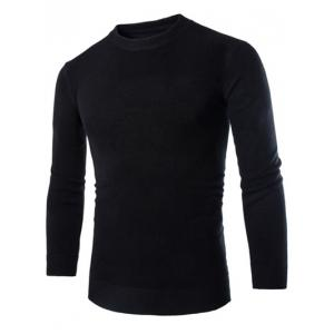 Laconic Round Neck Wheat Embroidered Stripes Intarsia Long Sleeves Men's Slim Fit Sweater - Black - M