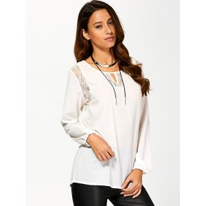 Cut Out Lace Splicing T-Shirt -